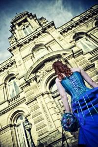 bride in blue dress