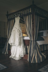 Bridal gown hanging up